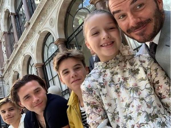 David Beckham along with his children (Image courtesy: Instagram)