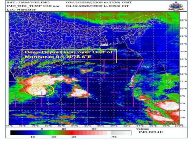 Cyclone Burevi over the Gulf of Mannar. (Photo: IMD)