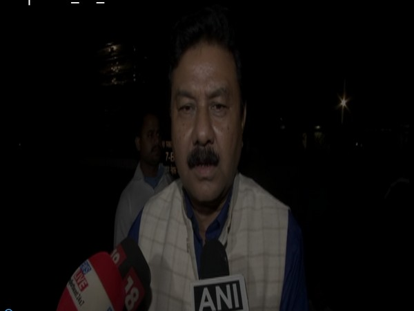 Assam BJP Chief Ranjeet Kumar Dass speaking to reporters, (Photo/ANI)