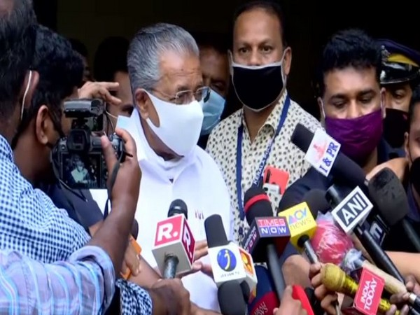 Visual of Kerala Chief Minister Pinarayi Vijayan reacting after taking first jab of  COVID-19 vaccine