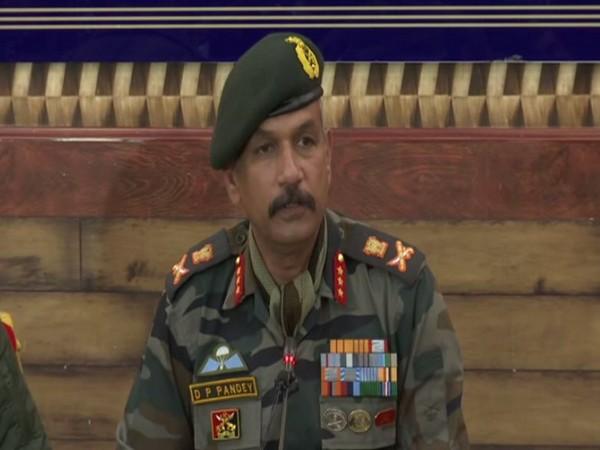 Lieutenant Devendra Pratap Pandey while addressing a press conference in Srinagar. (Photo/ANI)