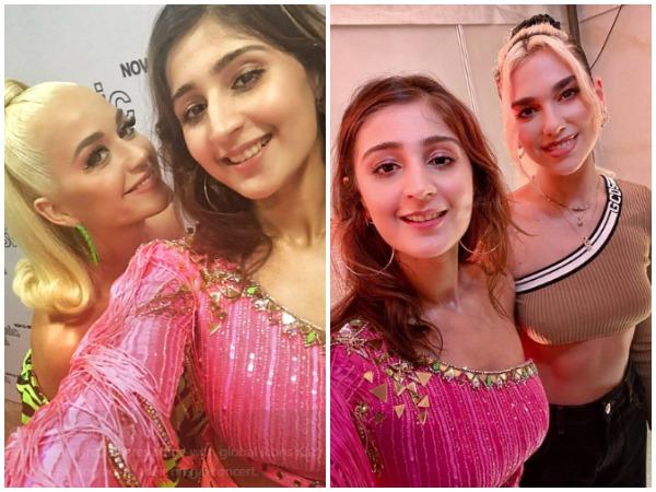 Dhvani Bhanushali with Katy Perry and Dua Lipa (Image Courtesy: Twitter)
