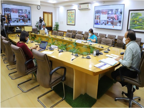 Dr Harsh Vardhan interacting with State Health Ministers and Principal Secretaries (Photo/ANI)