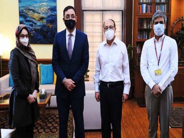 Foreign Secretary Harsh Vardhan Shringla along with Afghanistan delegation. (Photo: MEA twitter)