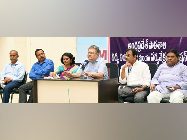 APSERMC Chairman Justice Kantha Rao speaking during a press conference.