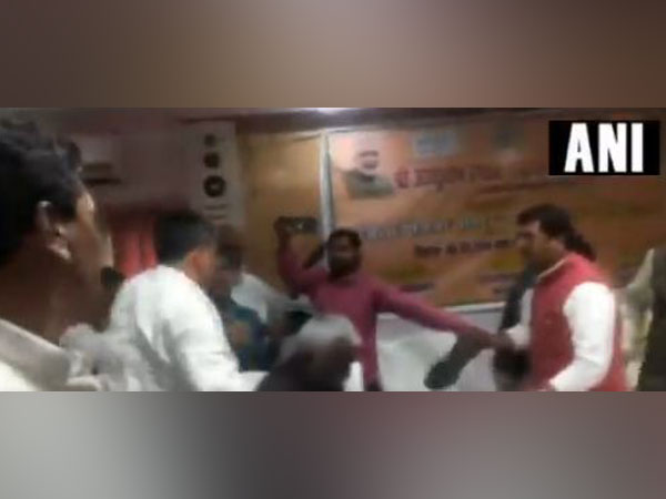 Visual of the brawl that took place during a meeting in Sant Kabir Nagar on Wednesday,