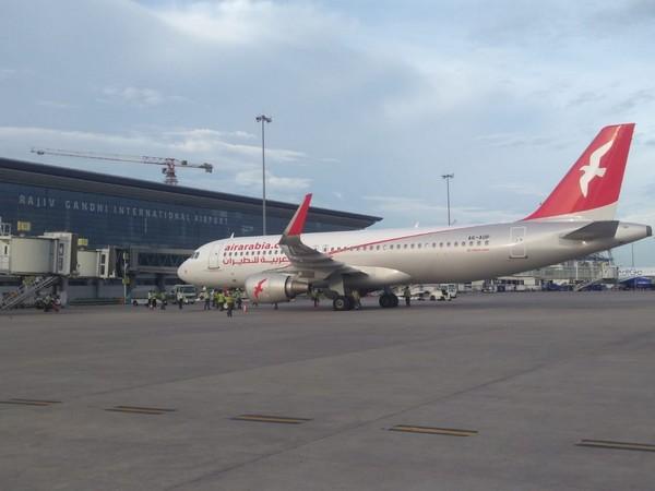 An Air Arabia aircraft at the GMR Hyderabad International Airport.