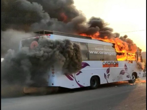 Bus catches fire in Hyderabad [Photo/ANI]