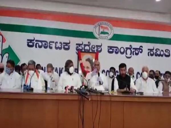Visulas from Karnataka Pradesh Congress Committee in Bangalore on Thursday (Photo/ANI)