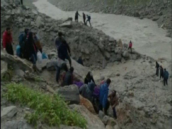 People are being rescued from the Chhatru area on Tuesday. Photo/ANI