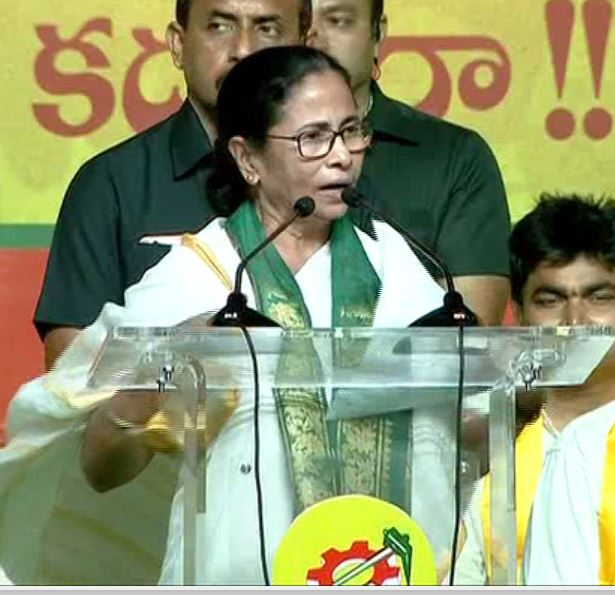 West Bengal Chief Minister Mamata Banerjee addressing an election rally of TDP at Vizag on Sunday. Photo/ANI