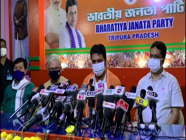 Tripura Chief Minister Biplab Kumar Deb addressing a press conference in Agartala. (Photo/ANI)
