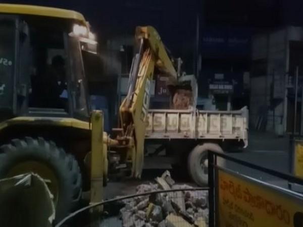 Three Lanterns Junction was demolished by the civic body in Vizianagaram [Photo/ANI]
