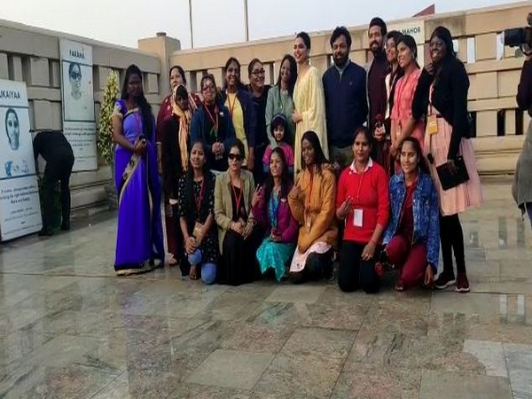Deepika Padukone along with acid attack survivors.