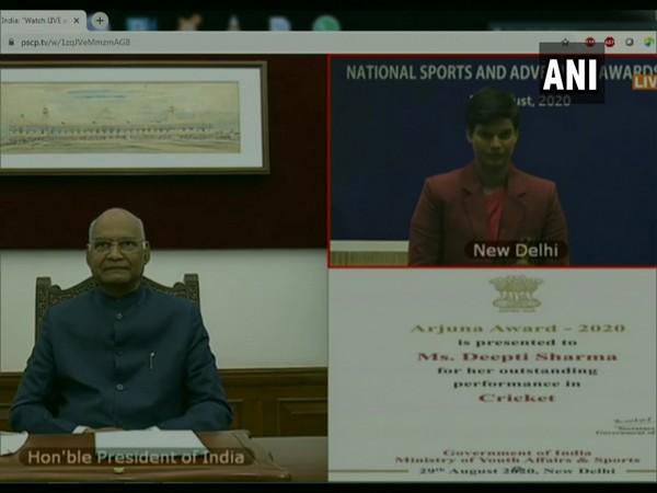 Indian women's cricketer Deepti Sharma receiving the Arjuna Award from President Ram Nath Kovind in a virtual event. Photo/ANI