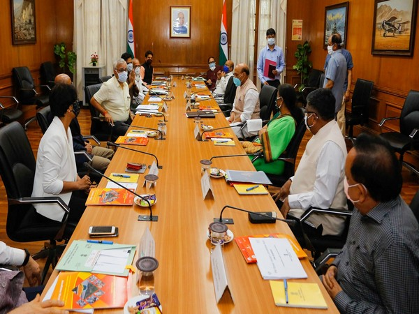 Defence Minister Rajnath Singh charing a GoM meeting on Thursday. (Photo/ANI)