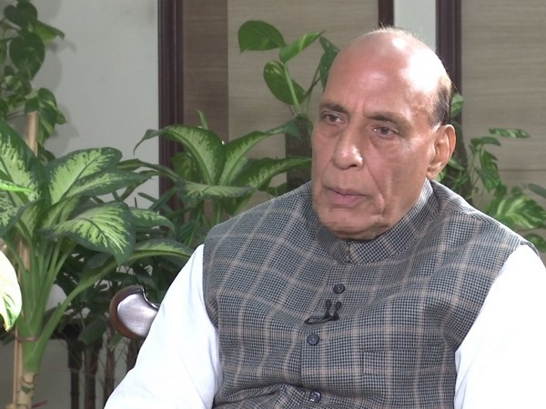 Defence Minister Rajnath Singh speaking to ANI.