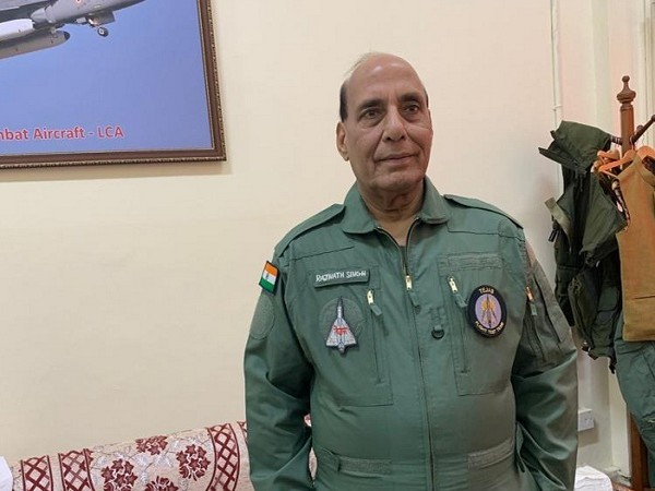 Defence Minister Rajnath Singh before flying in LCA Tejas