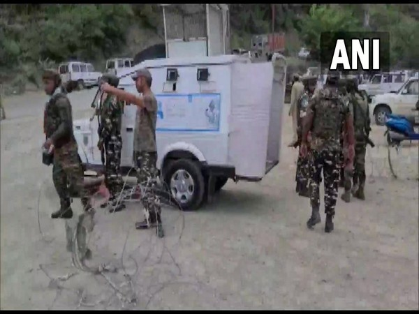 Visuals from spot where 2 CRPF jawans and policeman were injured in a grenade attack in Baramulla town. (Photo/ANI)