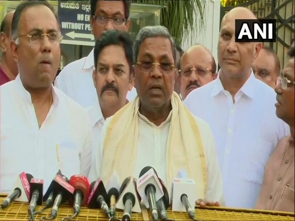 Congress leader Siddaramaiah addressing the media after meeting Governor in Bengaluru on Saturday