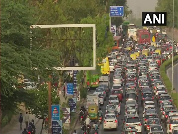 A visual of traffic in Delhi on Tuesday.