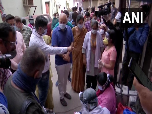 Delhi Deputy Chief Minister Manish Sisodia on Saturday visited areas from where samples are being collected for the serological survey. (Photo/ANI)