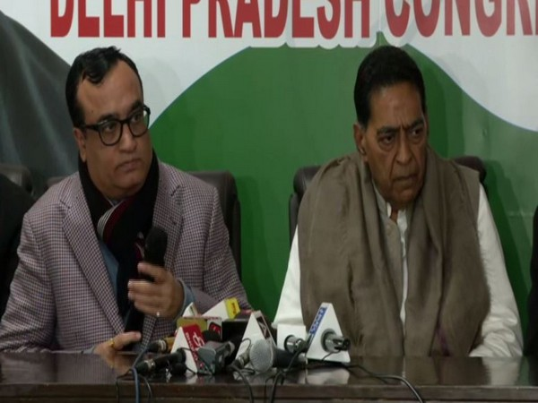 Congress leaders Ajay Maken and Subhash Chopra at a press conference in Delhi on Sunday. Photo/ANI