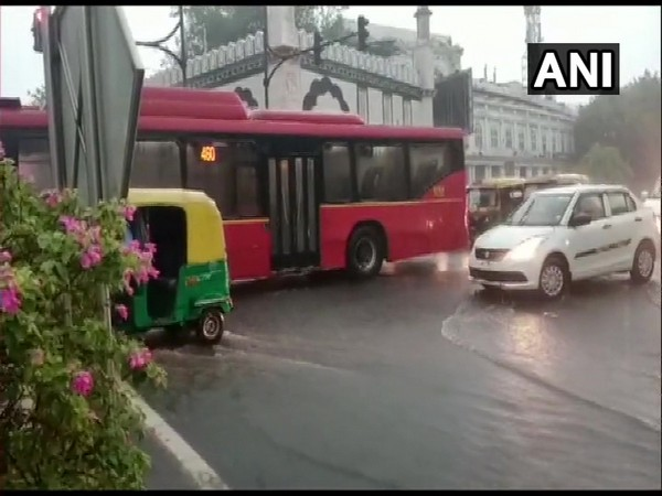 Heavy rains occur in several parts of capital on Sunday. (Photo: ANI)