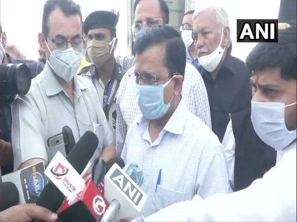 Delhi Chief Minister Arvind Kejriwal speaking to reporters in New Delhi on Saturday.