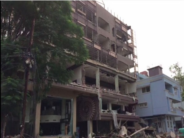 Visual of hotel demolition by Indore Municipal Corporation on Thursday. Photo/ANI