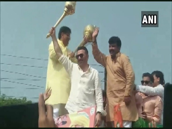 BJP MP Sunny Deol campaigns for Om Parkash Dhankar in Jhajjar, Haryana on Saturday.