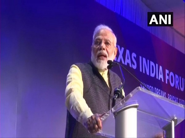 Prime Minister Narendra Modi addressing an Indian community reception in Houston