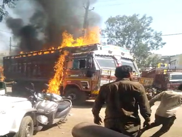 The truck fire at Transport Nagar in Indore on February 22.