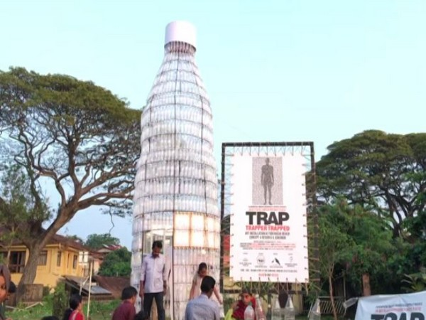 'Trap' made up of 1500 single-use plastic bottles installed in Kerala's Kochi on Tuesday. Photo/ANI