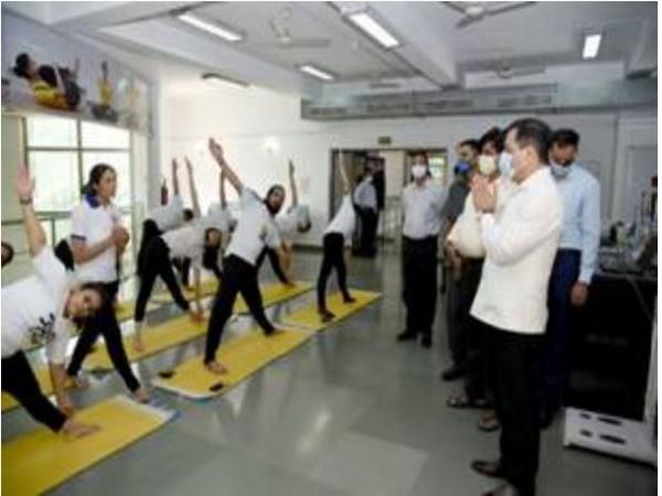 Minister of Ayush Sarbanand Sonowal visited Morarji Desai National Institute of Yoga (Photo/ANI)