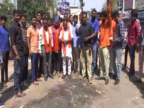 Members of Bajrang Dal protesting against Valentine's Day in Hyderabad