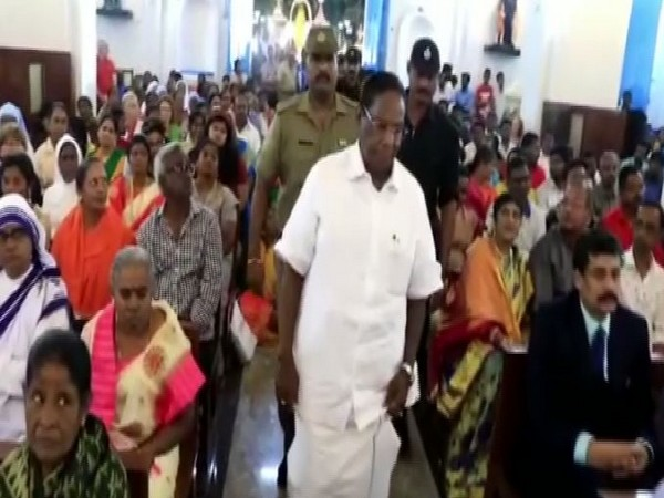 Puducherry Chief Minister V. Narayanasamy  at the Nellithope Church on Wednesday. Photo/ANI