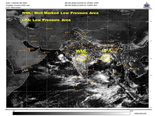 Visual representation of movement of Cyclone Gulab (Photo/Twitter/IMD)