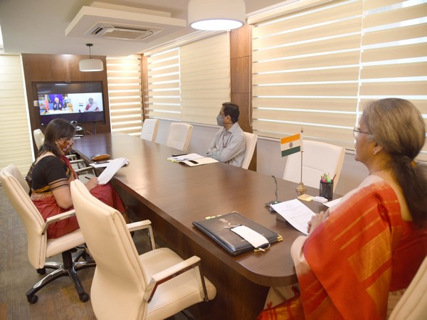 Visual of Finance Minister Nirmala Sitharaman in a virtual meeting with the Ministry of Foreign Affairs, Portugal