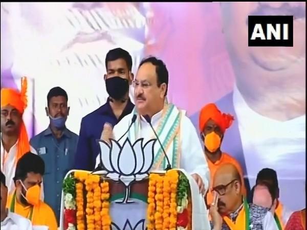 Bharatiya Janata Party (BJP) national president Jagat Prakash Nadda (JP Nadda) speaking in Tirupati on Monday. (ANI)