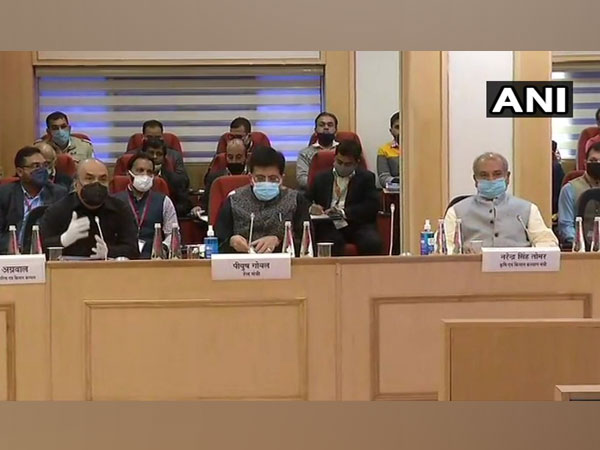 Union ministers Narendra Singh Tomar, and Piyush Goyal during the talks with the farmers on Saturday. (Photo/ANI)