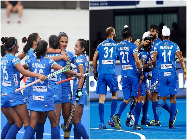 Indian women and men hockey teams. (Photo/Hockey India Twitter)
