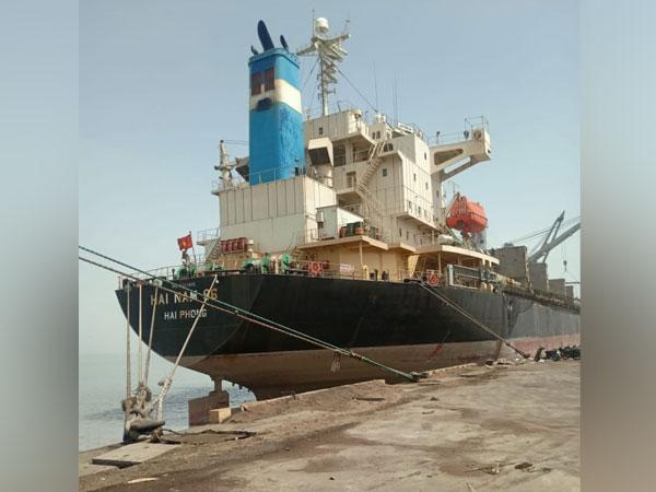 Visual of ship 'MV Hai Nam 86,' at Deendayal Port, Gujrat. (Photo/ANI)
