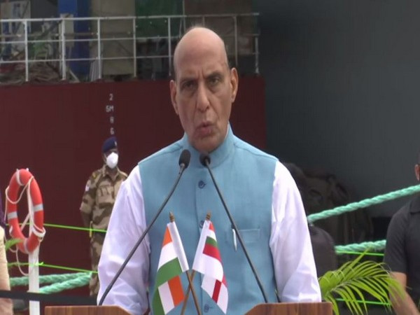 Defence Minister Rajnath Singh speaking after reviewing IAC construction work on Friday. (ANI)