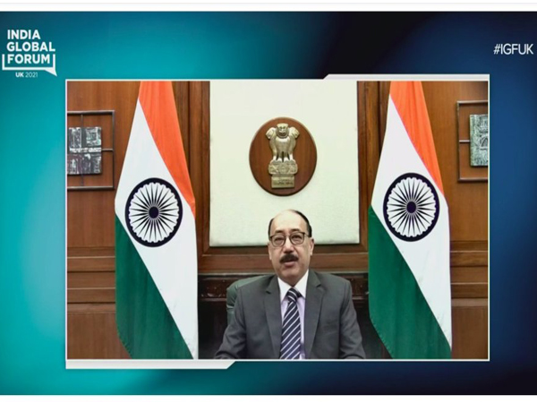 Foreign Secretary Harsh V Shringla addressing India Global Forum (Photo:Twitter/India Global Forum)