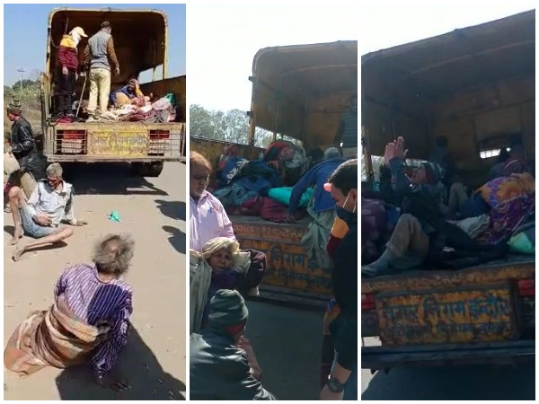 Elderly homeless people were dropped off by the side of a highway on the city's outskirts by Indore municipal workers. (Photo/ANI)