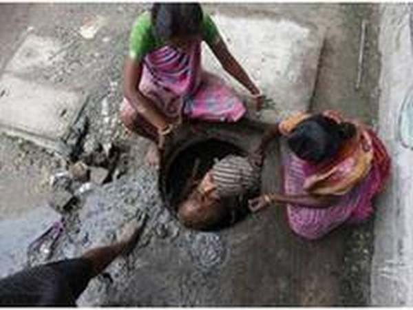 Manual scavenging refers to the practice of manually cleaning, carrying, disposing or handling in any manner, human excreta from dry latrines and sewers. (Photo/ANI)
