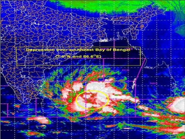 A Depression over the southeast Bay of Bengal that is likely to intensify into a cyclonic storm in the next 12 hours. (Photo: IMD)
