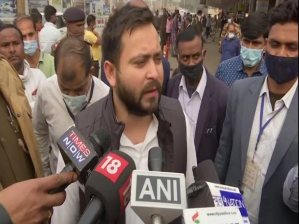 Former Deputy Chief Minister of Bihar Tejaswi Yadav interacting with reporters on Thursday.