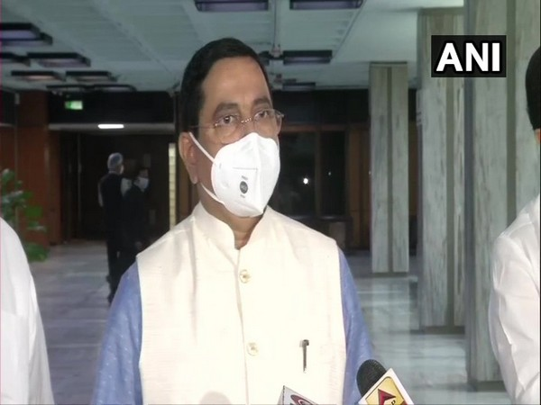 Pralhad Joshi, Union Parliamentary Affairs Minister during a press conference on Sunday. (Photo/ANI)